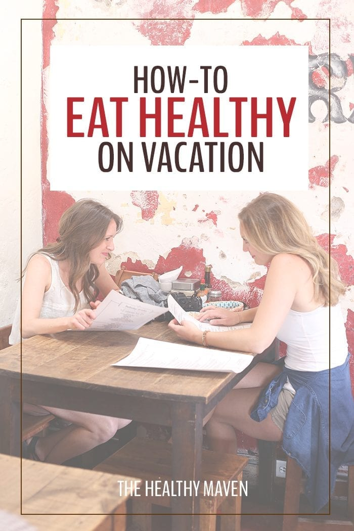 Tips and tricks on how to eat healthy on vacation and stick to a nourishing diet. Make sure your next trip is fun and relaxing without going crazy at the buffet table with these helpful suggestions.