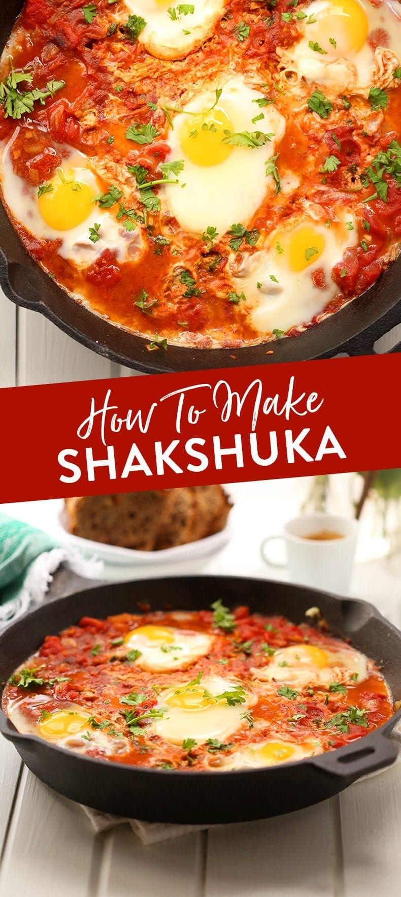 Have you ever wondered how to make shakshuka? This wonderful Middle Eastern poached egg dish made in a saucy tomato broth is the next best addition to your weekend brunch. #shashuka #eggs #bakedeggs