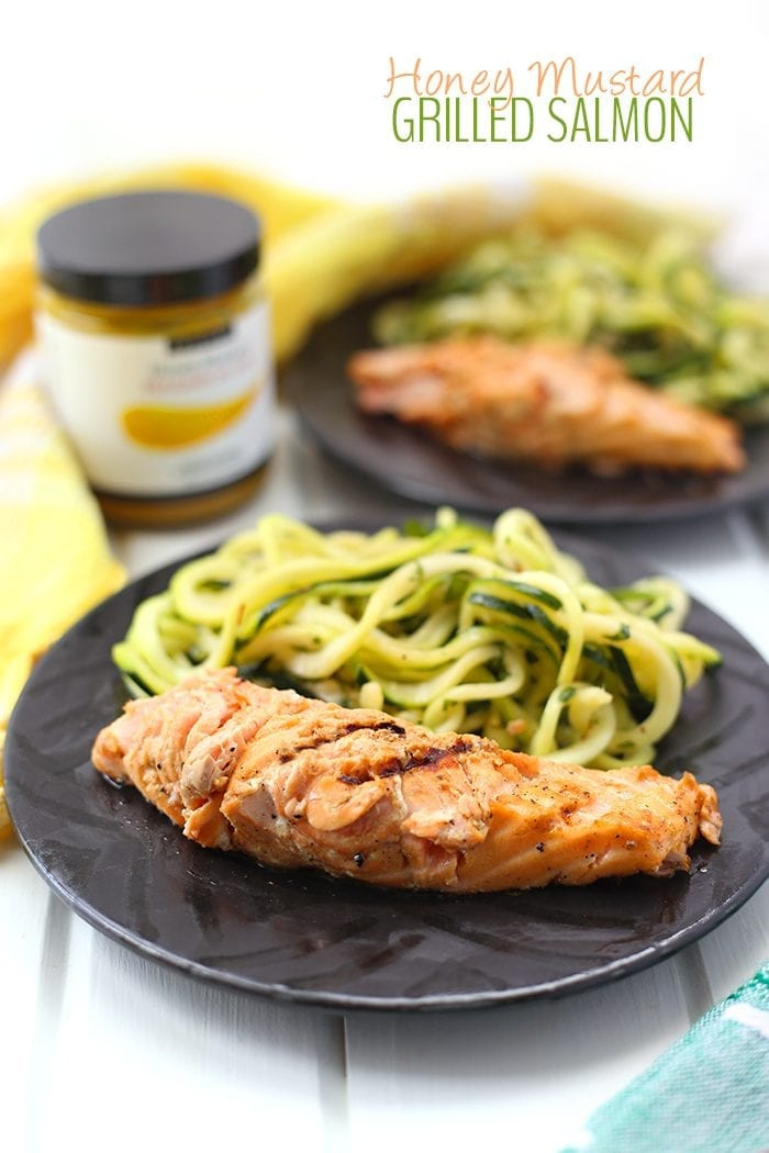 This simple Grilled Honey Mustard Salmon is made with just 6-ingredients but packs a ton of flavor. The perfect recipe for summer barbecues or a quick and easy weeknight meal on the grill.