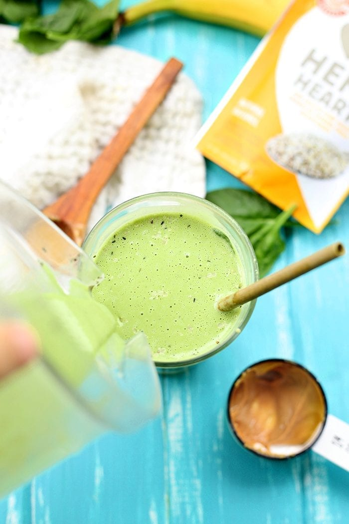 This Peanut Butter Hemp Green Smoothie is jam-packed with protein and your daily dose of greens. It's a nutritious and filling breakfast recipe to start your day.