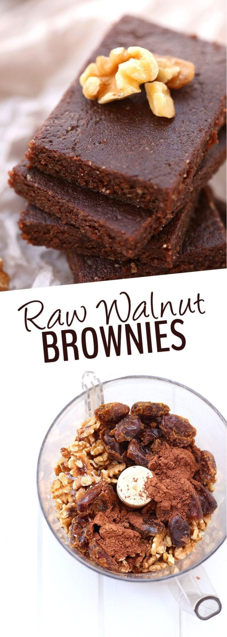 4 ingredients is all you need to make these Raw Walnut Brownies. They're gluten-free, vegan, paleo and refined-sugar-free but also taste incredible! #raw #rawbrownies