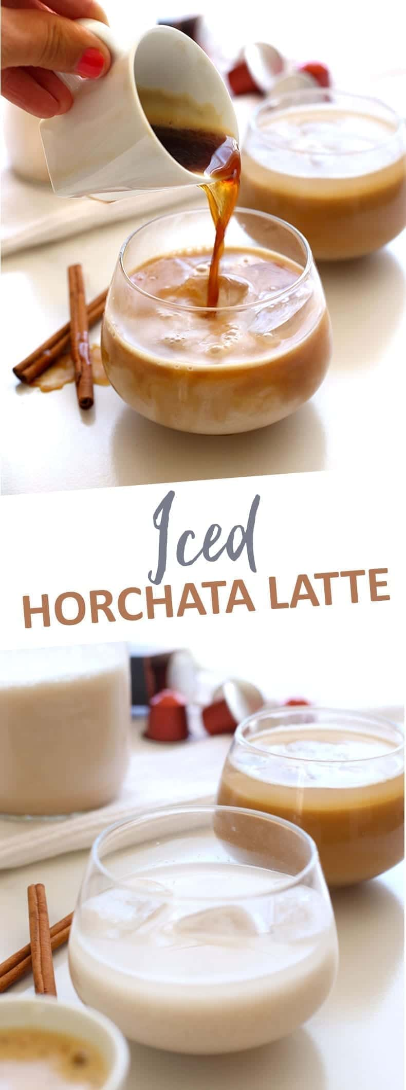 Mexican flavors meet espresso in this sweet and smooth Iced Horchata Latte. Made with brown rice, almonds, cinnamon and Nespresso this drink recipe will be the most refreshing start to your day all summer long!