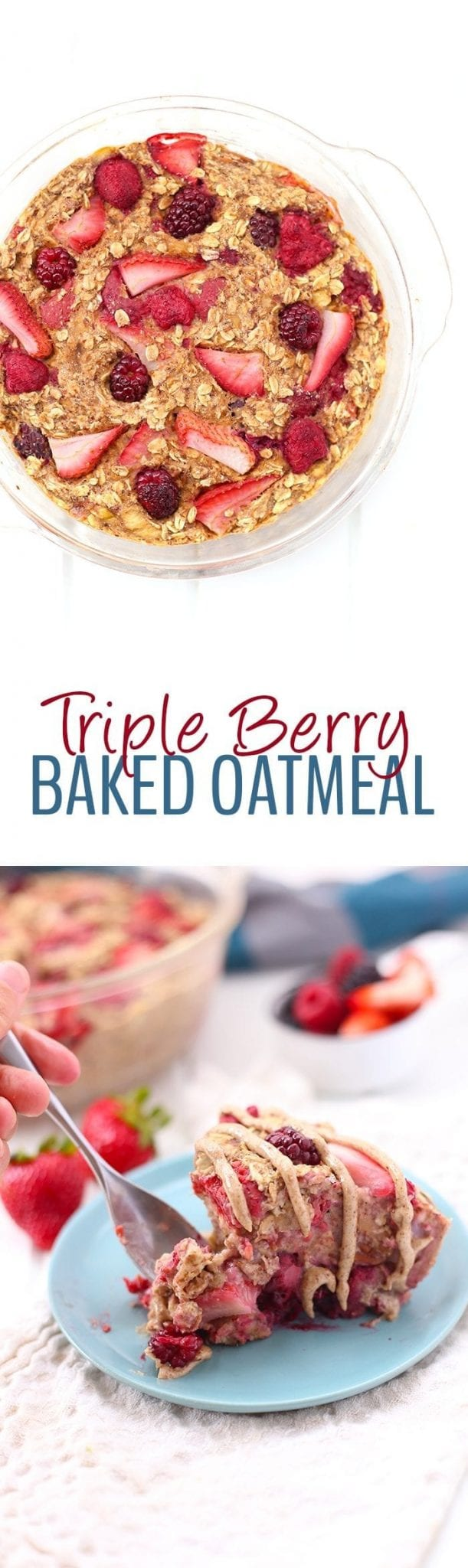 No need to pick your favorite berry in this Triple Berry Baked Oatmeal. Swap in your top choices and toss in the oven for a healthy breakfast or brunch recipe that is gluten-free and vegan too!