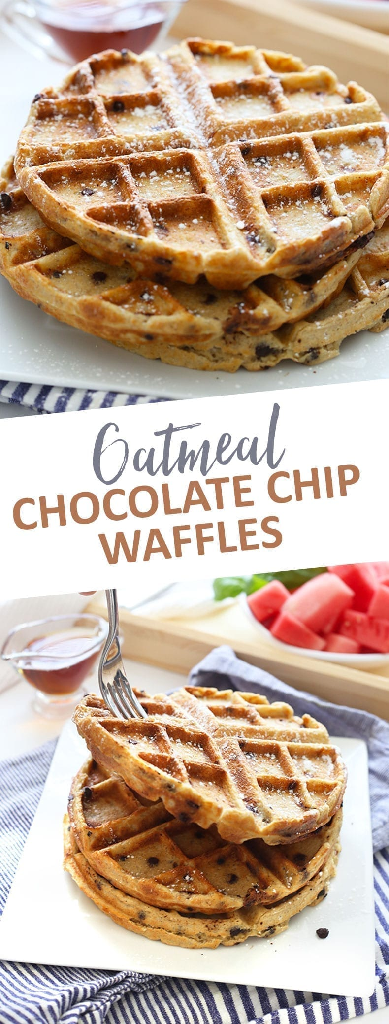Sweet and crispy Oatmeal Chocolate Chip Waffles for the ultimate weekend brunch! These gluten-free and healthy waffles are made from wholesome ingredients. #oatmealwaffles #glutenfreewaffles
