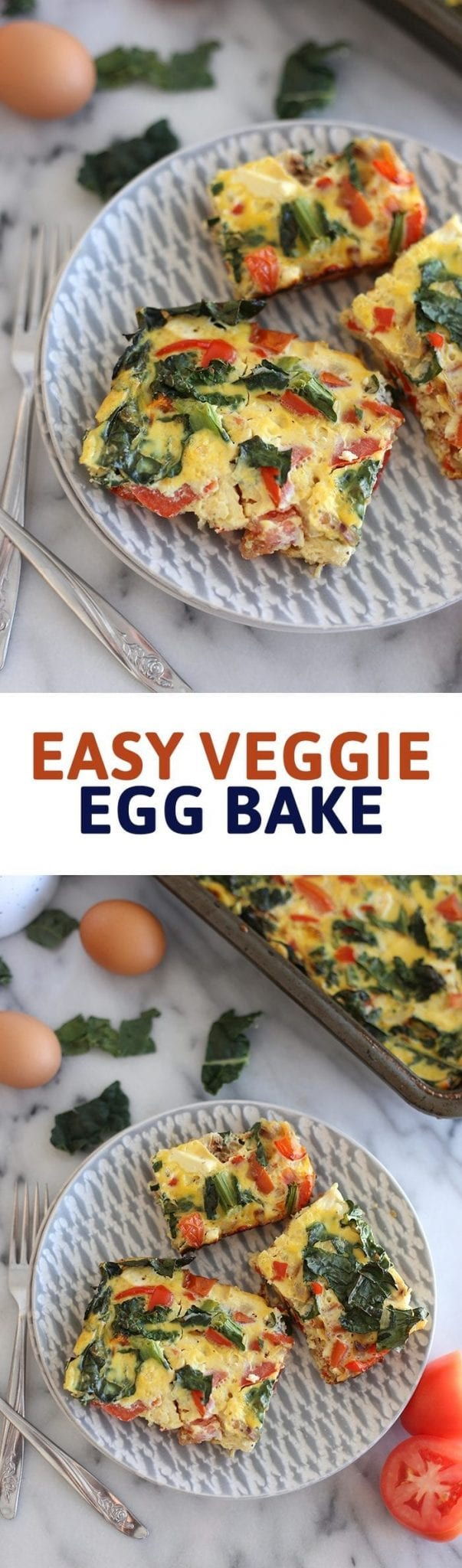 Looking for a super simple breakfast to feed a crowd? This Easy Veggie Egg Bake is perfect for your next breakfast potluck or brunch date. Customize the recipe with your favorite veggies, and bake for a delicious breakfast meal.