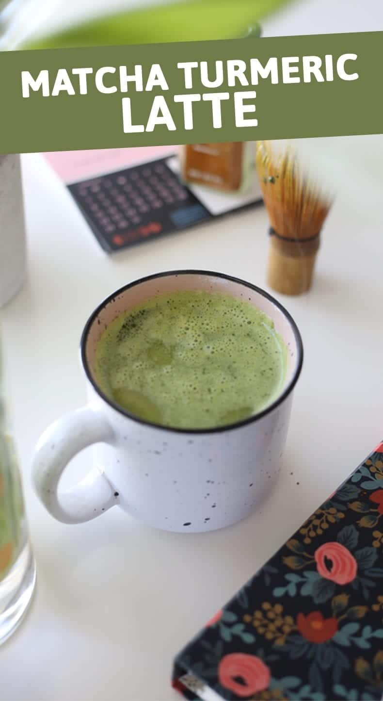 Amp up your matcha latte with this Matcha Turmeric Latte full of antioxidants and anti-inflammatory benefits. #matchalatte #turmeric #antiinflammatory