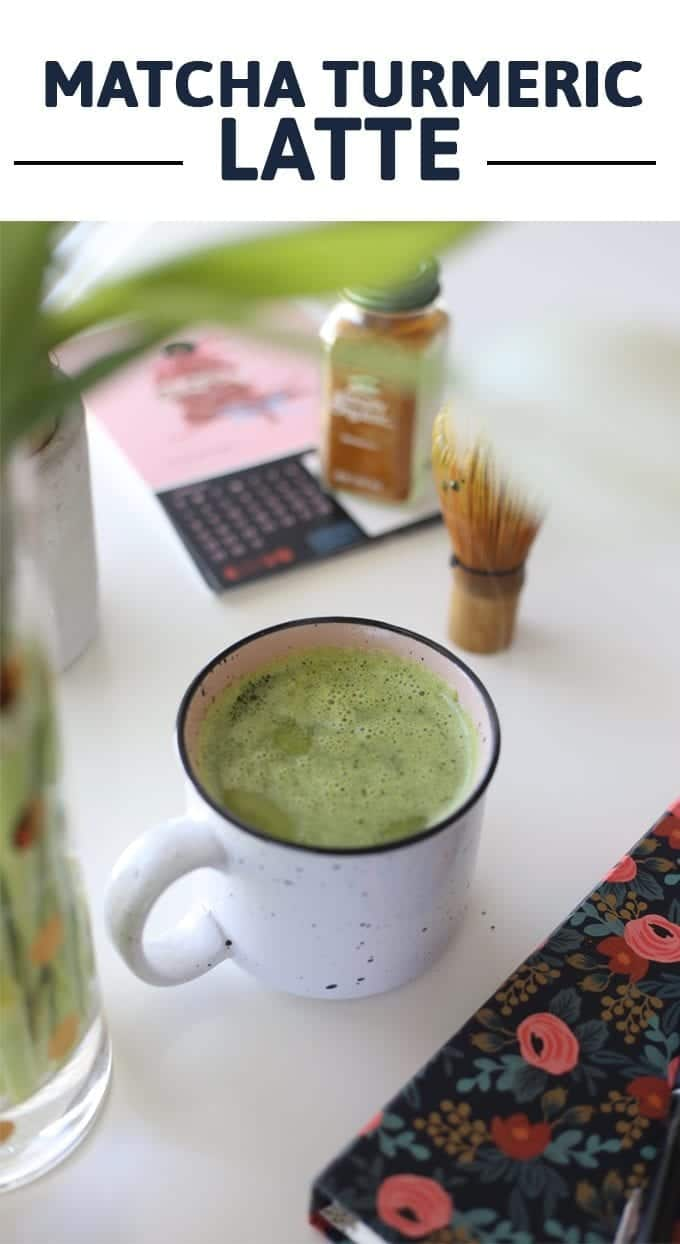 Start your morning with a mug of this matcha turmeric latte. It's packed full of antioxidants and a boost of caffeine to help you get through your day!