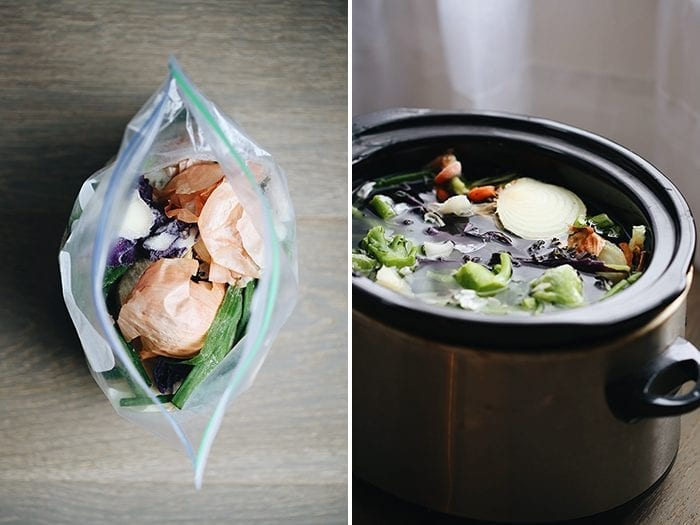 This tutorial will teach you how to make vegetable stock in your slow cooker using veggie scraps you already have on hand. It's a two-part process that will help eliminate food waste and save money at the grocery store!