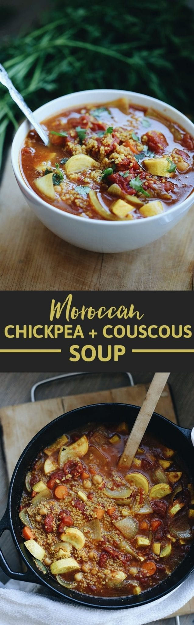 Souper Sunday returns with this Moroccan Chickpea and Couscous Soup! A one pot meal full of zesty and sweet moroccan spices, hearty couscous and a chickpea protein boost. Perfect for lazy winter day when you're craving a flavorful bowl of soup.