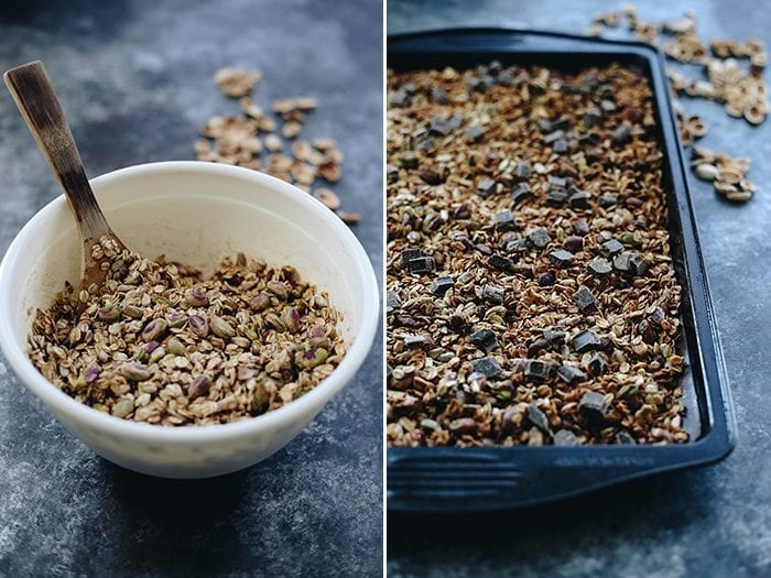 Who says breakfast can't have chocolate? Start your day with this Dark Chocolate Pistachio Granola recipe for a delicious and satisfying breakfast full of everyone's favorite superfood!