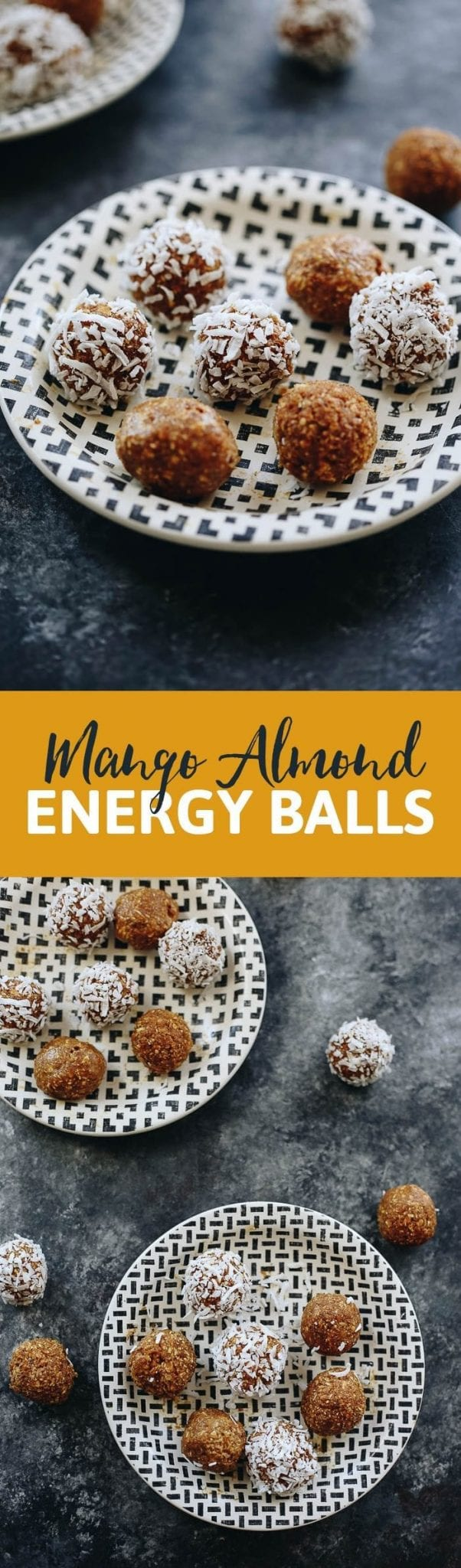 3 ingredients are all you need to whip up these Mango Almond Energy Balls! No sugar added, just natural fruit, and healthy fats from almond butter. This will become your new favorite energy ball recipe!