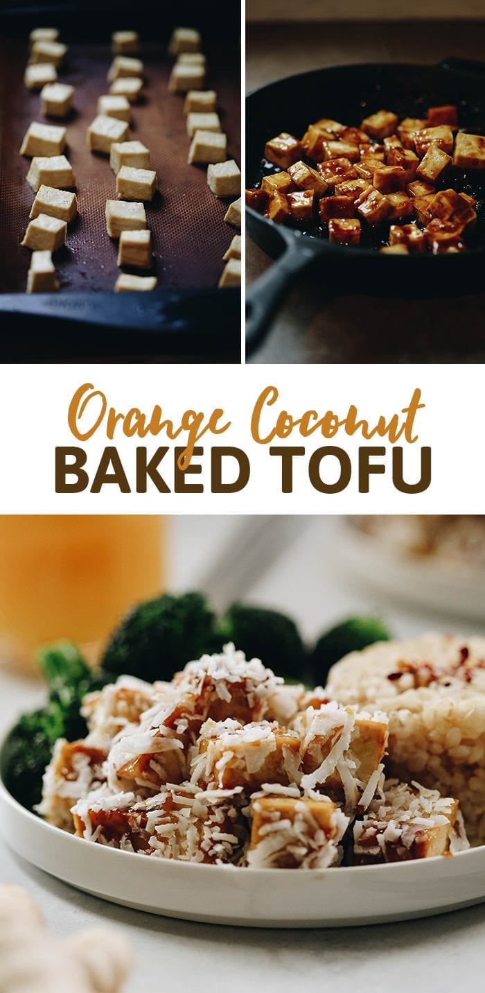 The sweet and tangy flavor of orange pairs perfectly with coconut in this orange coconut baked tofu recipe. Pair with rice and veggies for a vegetarian meal full of flavor and nutrition!