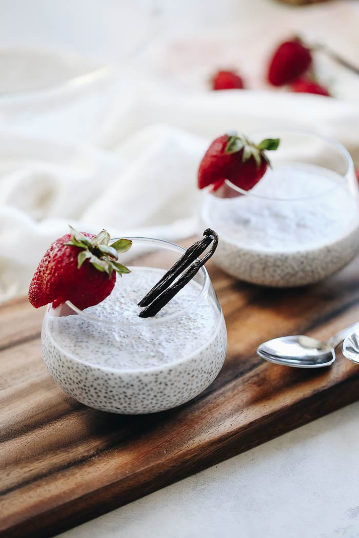 Simple Vanilla Bean Chia Pudding made with fresh vanilla beans and topped with your toppings of choice! This basic recipe makes for the perfect customizable breakfast or snack recipe and only takes minutes to pull together!