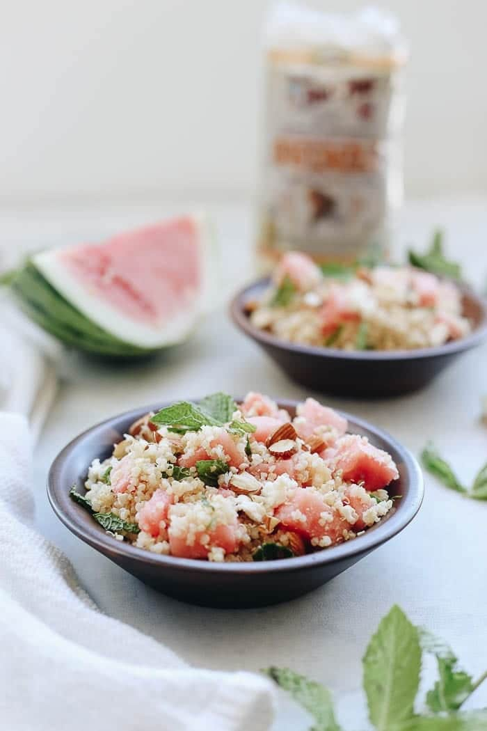 A refreshing and light summer recipe for Watermelon Feta and Mint Quinoa Salad that can be enjoyed as an easy side or a hearty main dish!