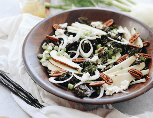 A crisp fall salad on a bed of massaged kale, this Pear Fennel and Ricotta Kale Salad will make dinner prep a breeze for those cooler and darker fall evenings.