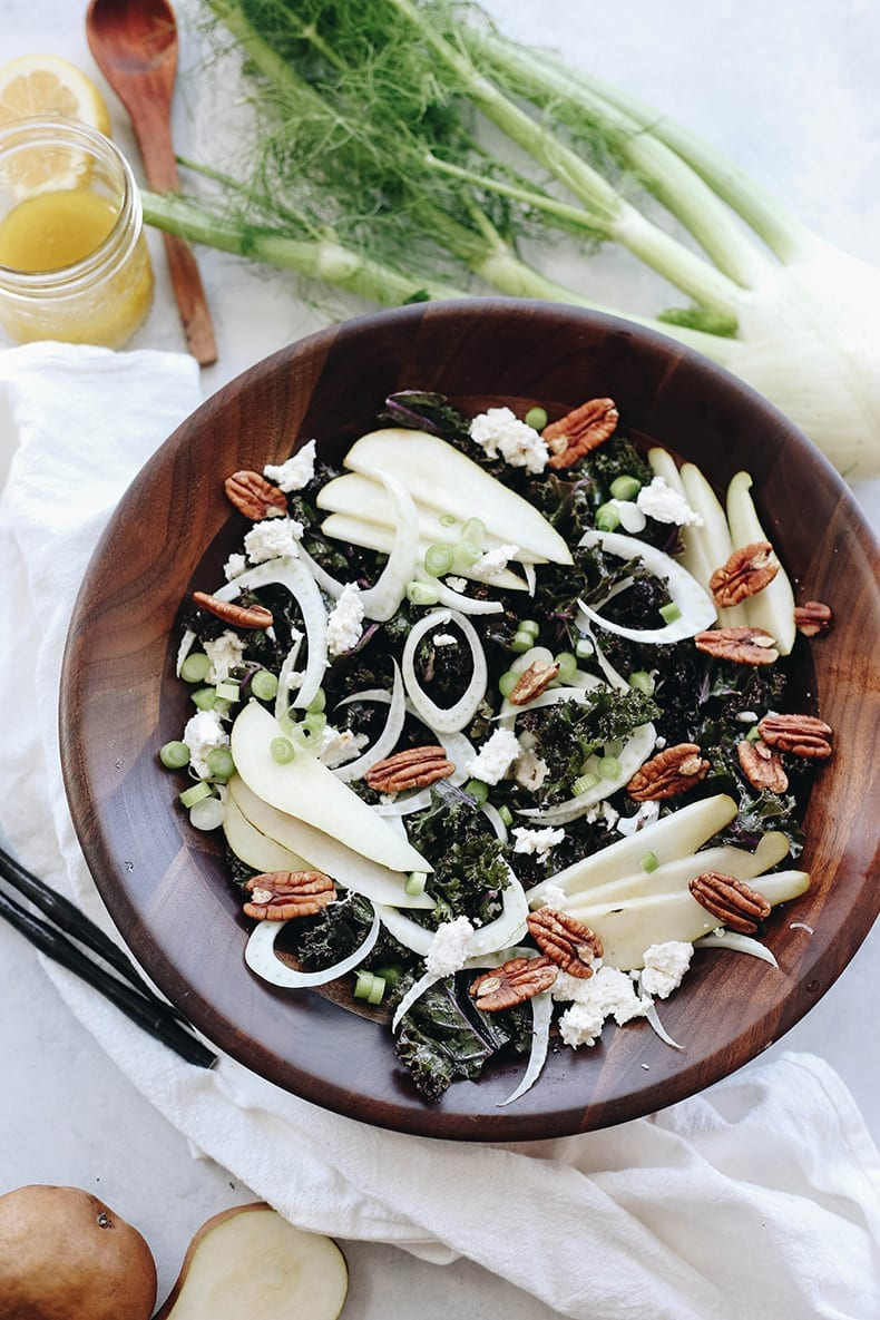 A crisp fall salad on a bed of massaged kale, this Pear Fennel and Ricotta Kale Salad will make dinner prep a breeze for those cooler and darker fall evenings.A crisp fall salad on a bed of massaged kale, this Pear Fennel and Ricotta Kale Salad will make dinner prep a breeze for those cooler and darker fall evenings.