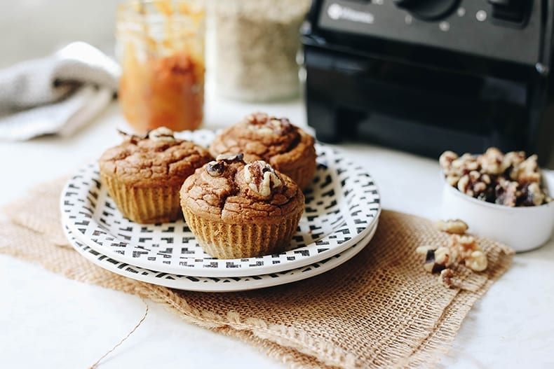 A healthy take on muffins, these Pumpkin Spice Blender Muffins are simple to make, gluten-free and require just one tool, your blender! No other dishes required.