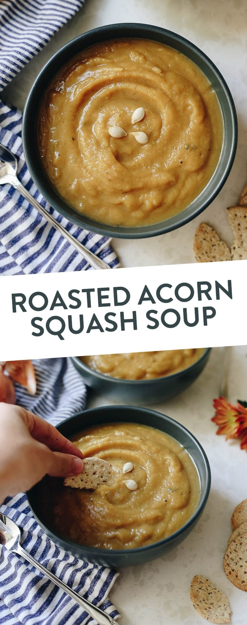 This healthy, autumn Roasted Acorn Squash Soup is sweet and savory with a lightly roasted flavor to make a delicious and filling fall recipe for the whole family.