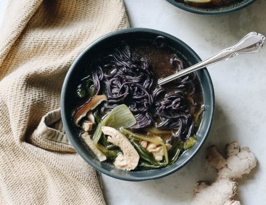 Feeling a little under the weather or in need of a good immune-boost for cold and flu season? This is my go-to healing bowl full of healthy ingredients like mushrooms, miso, chicken broth and veggies.