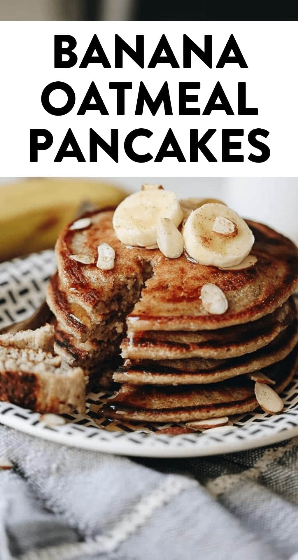 Breakfast has never tasted so good with these banana oatmeal pancakes. Easy clean up too because you can make them in your blender! #blenderpancakes #bananaoatmealpancakes #pancakes