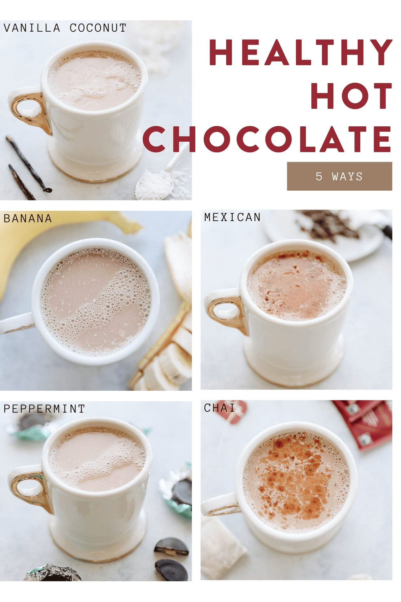 Looking for a healthy hot chocolate recipe? Look no further than these 5 healthy versions including banana hot chocolate, peppermint hot chocolate, chai hot chocolate and more! All made with healthy, nutritious ingredients that you probably already have in your pantry!