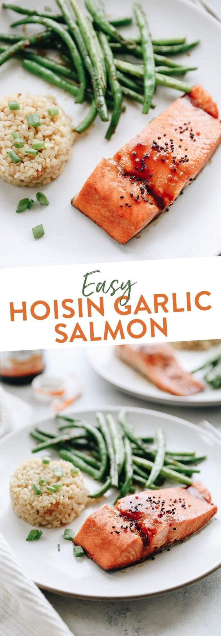 Looking for an easy weeknight meal? Look no further than this Easy Hoisin Garlic Salmon with a side of coconut rice and garlic green beans. It sounds fancy but it's actually super simple and delicious!