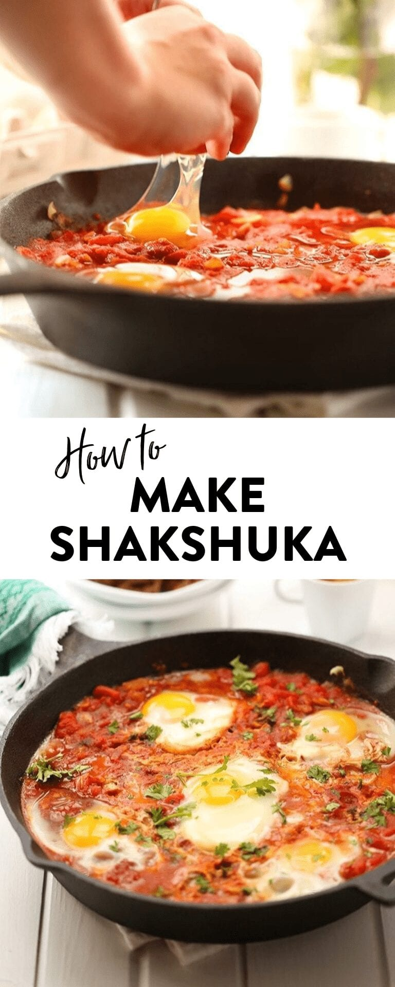 Have you ever made shakshuka? This easy shakshuka recipe has a spicy tomato base topped with poached eggs and fresh herbs. You can even customize this easy shakshuka recipe to your liking! #shakshuka