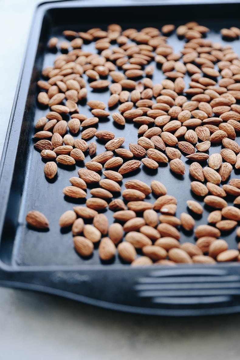 Freshly roasted almonds for this vanilla sea salt almond butter recipe