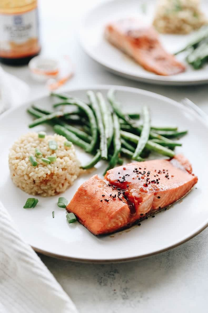 Rushed for dinner but still want a healthy meal? This Easy Hoisin Garlic Salmon is quick, simple and pairs perfectly with my one-pot coconut rice. For a full meal add some sautéed garlic green beans on the side.