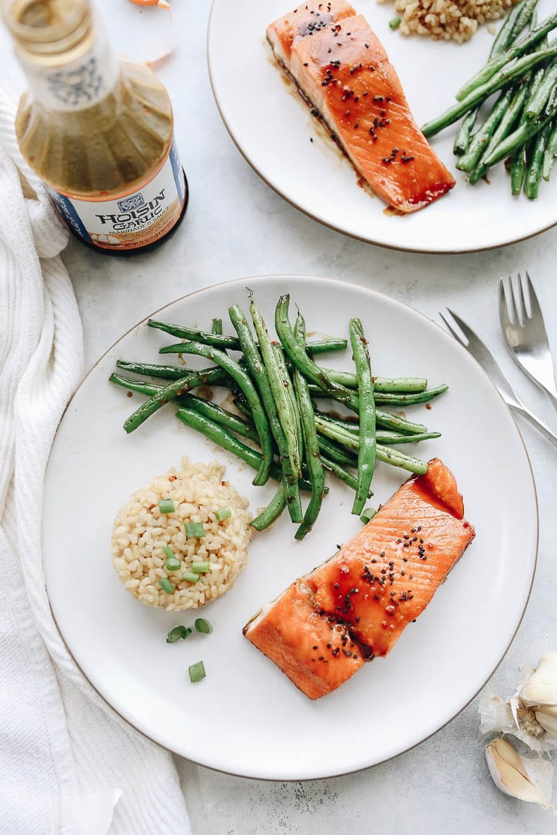 An easy weeknight meal with this hoisin garlic salmon with coconut rice and garlicky green beans