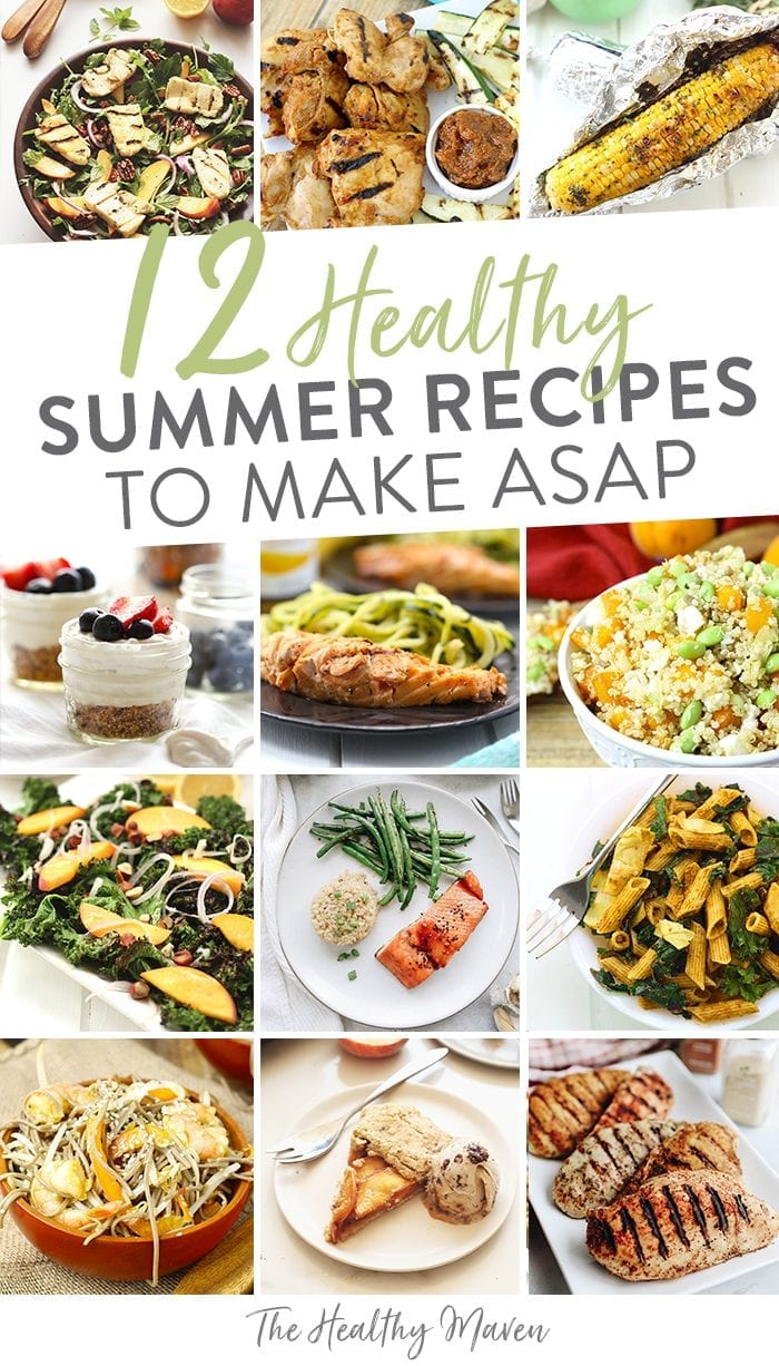 Summer is just around the corner! Welcome it by making one of these 12 healthy summer recipes. Using fresh produce from asparagus to perfectly ripe peaches, these 12 healthy summer recipes will keep you full all season long.