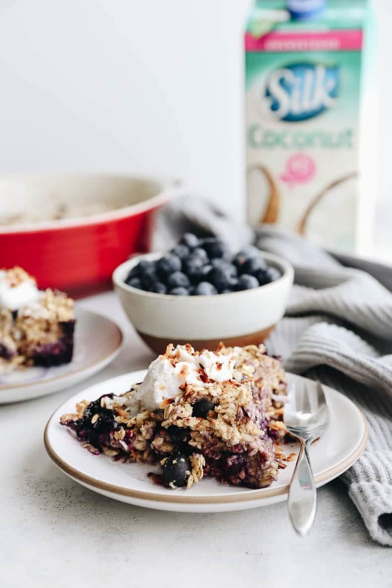 Change up your breakfast game with this Blueberry Coconut Baked Oatmeal. An easy, vegan, breakfast option that you can bake ahead of time for weekday breakfasts or fresh for a fancy weekend brunch.
