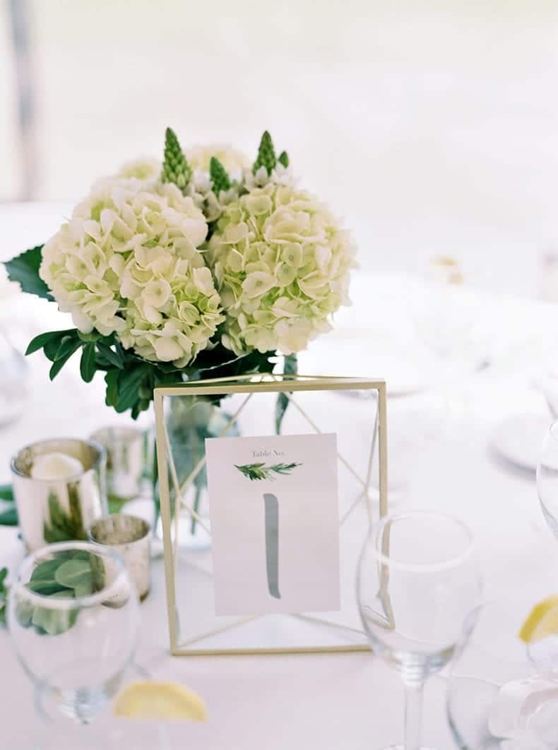 DIY Wedding Table Signs in Umbra gold frames for a green and white wedding table