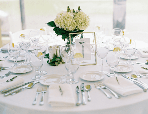 Green and white with gold wedding table