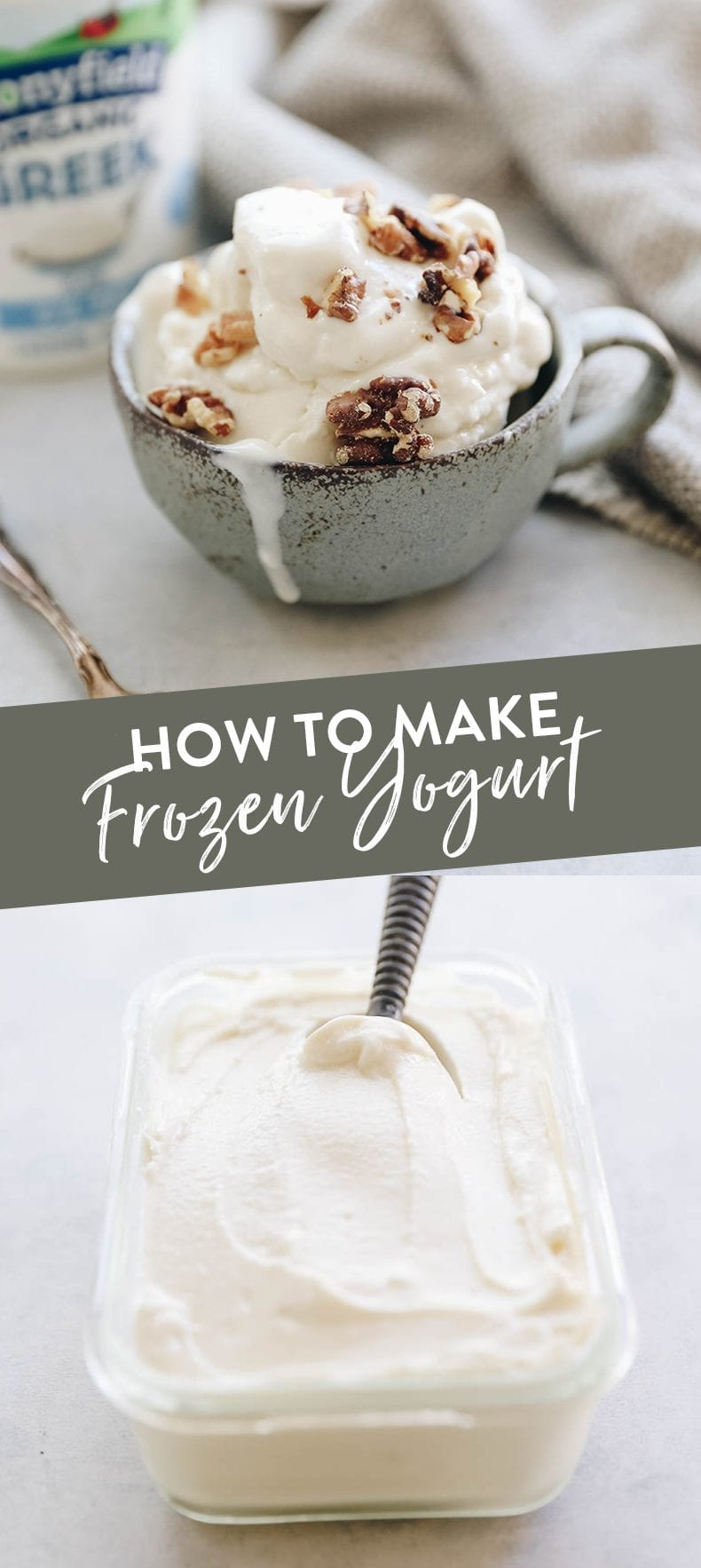 How To Make Frozen Yogurt - a step-by-step tutorial so you can make frozen yogurt at home with just 3 ingredients! #frozenyogurt #healthydessert