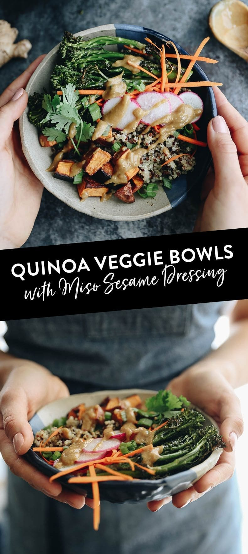 This quick and easy recipe for quinoa veggie bowls with miso sesame dressing makes a filling #vegan and #glutenfree meal that can all be eaten in one bowl!