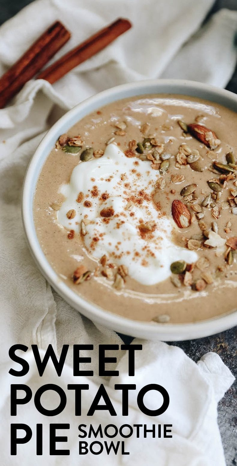 Sweet Potato Smoothie Bowl - with hidden vegetables!  Have your cake and eat it too with this healthy breakfast recipe #smoothie