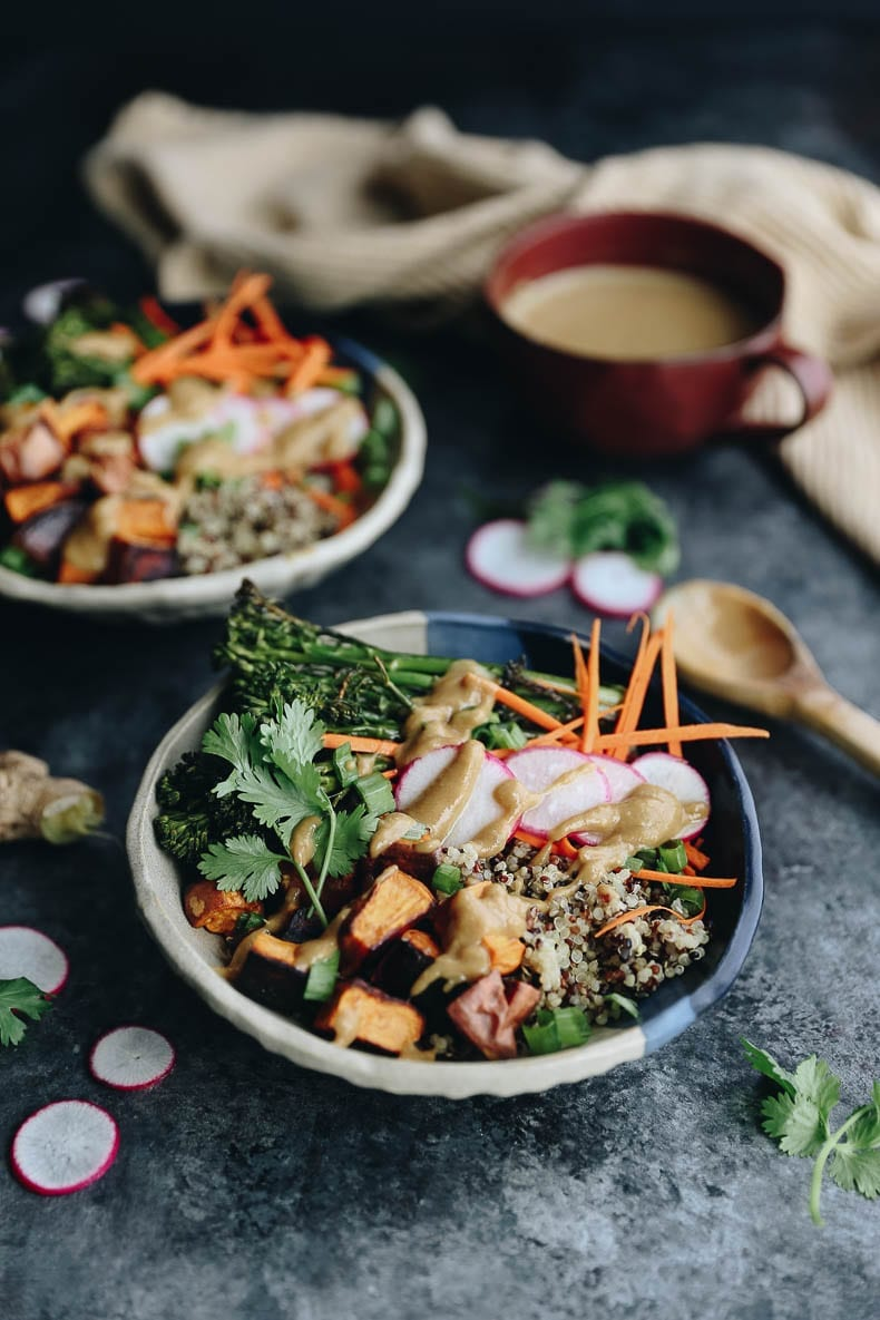 Healthy Quinoa Veggie Bowls with a Miso Sesame Dressing that makes a perfect vegan dinner recipe the whole family can enjoy #vegan #bowlrecipe #quinoa