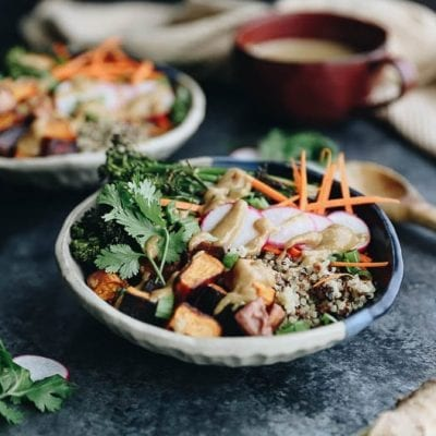 These customizable Quinoa Veggie Bowls with Miso Sesame Dressing will become a weeknight staple. With a quinoa and veggie base topped with a zesty and flavor-packed dressing this easy dinner or lunch recipe is a healthy vegan option for the whole family.