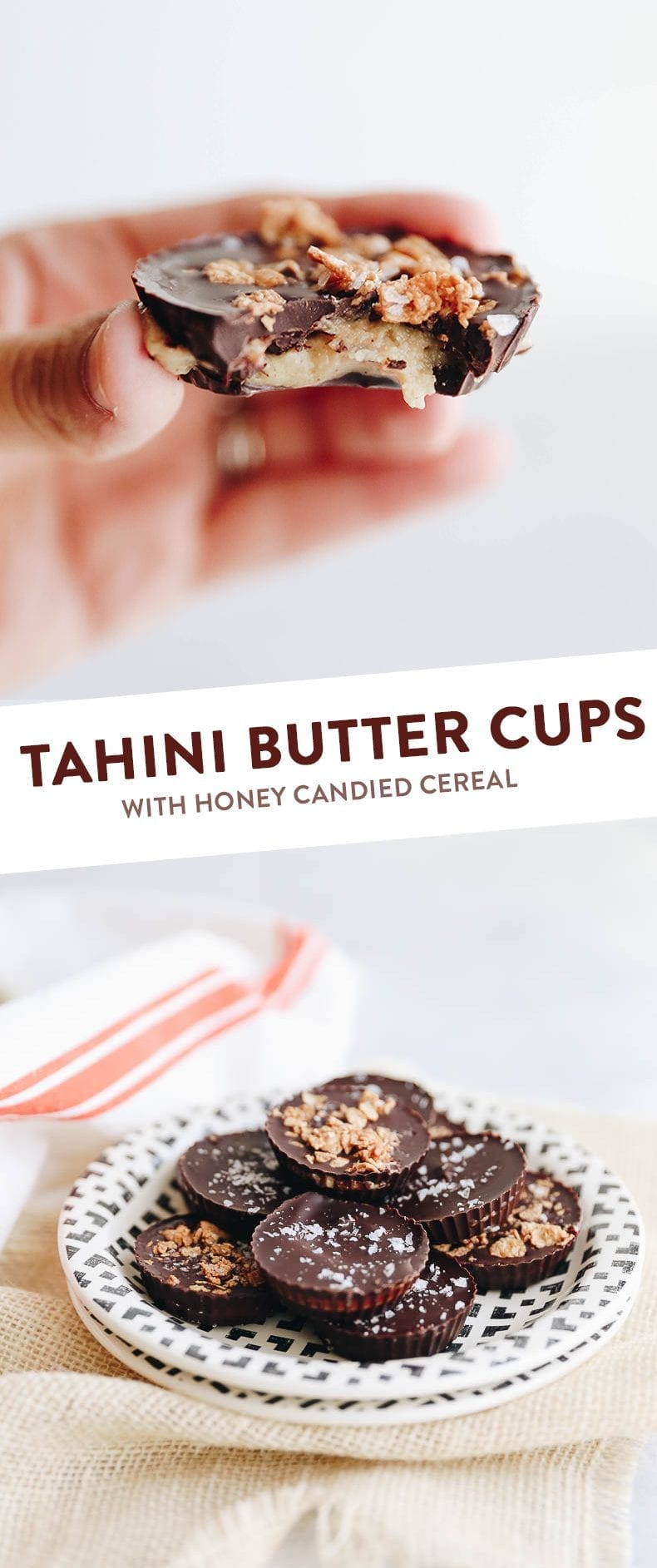Switch up your Peanut Butter Cup game with these Tahini Butter Cups with Honey Candied Cereal sprinkled on top for a sweet treat with a twist. This delicious chocolate dessert recipe is sweetened entirely with honey for a healthier swap! #tahini #tahinibuttercups