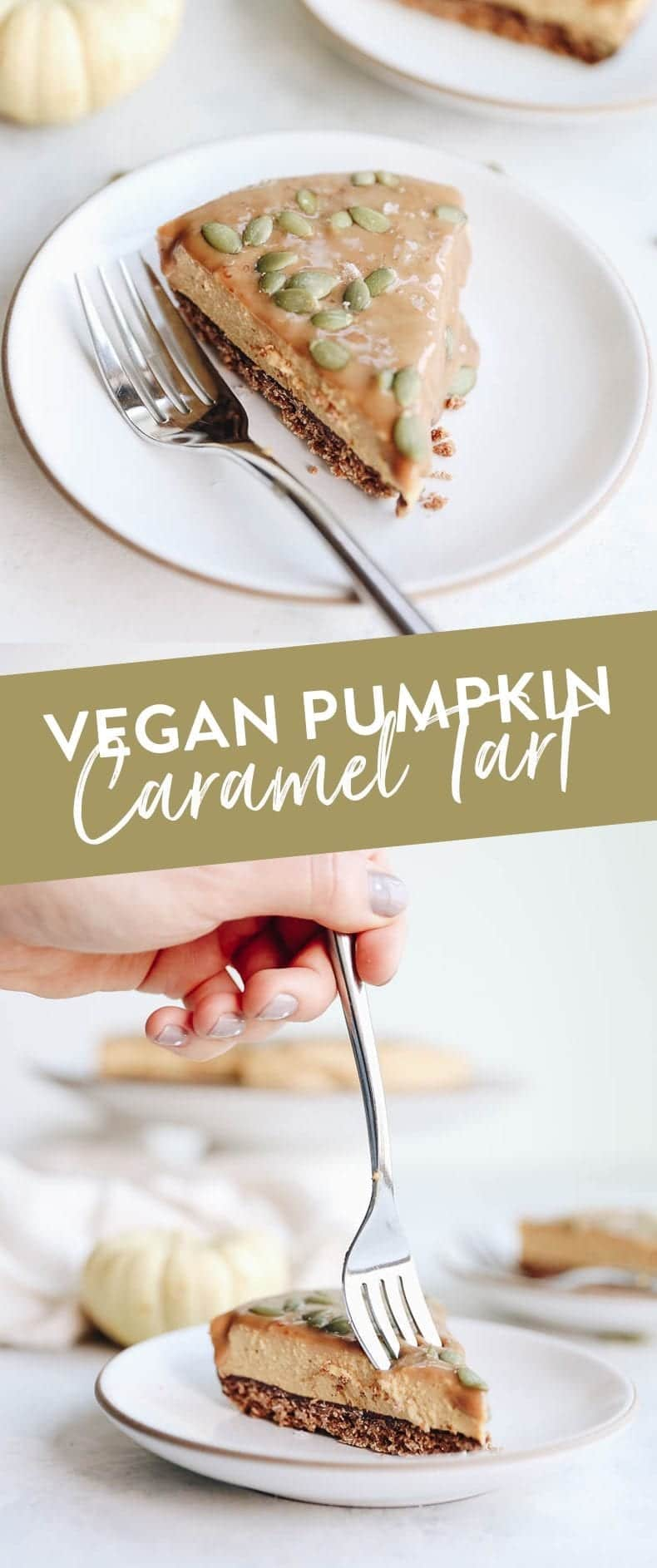 This creamy vegan pumpkin caramel tart gives pumpkin pie a serious run for its money. Made with a simple granola crust and a smooth cashew based pumpkin-filling this dessert recipe will quickly become a winter favorite! #vegan