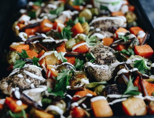 Sheet Pan Za'atar Chicken with Roasted Vegetables all made on a single pan with limited prep work!