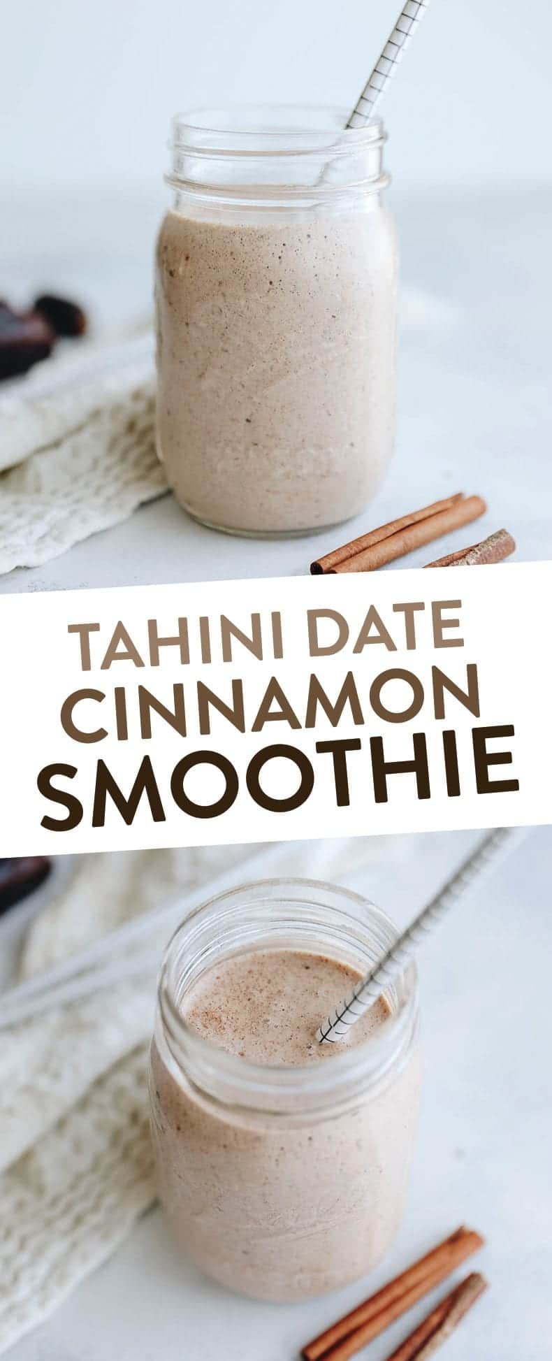 Creamy and filling, this Tahini Date and Cinnamon Smoothie is packed full of flavor, nutrition and healthy fats for a satisfying breakfast or healthy meal recipe #smoothie #tahinismoothie #tahini