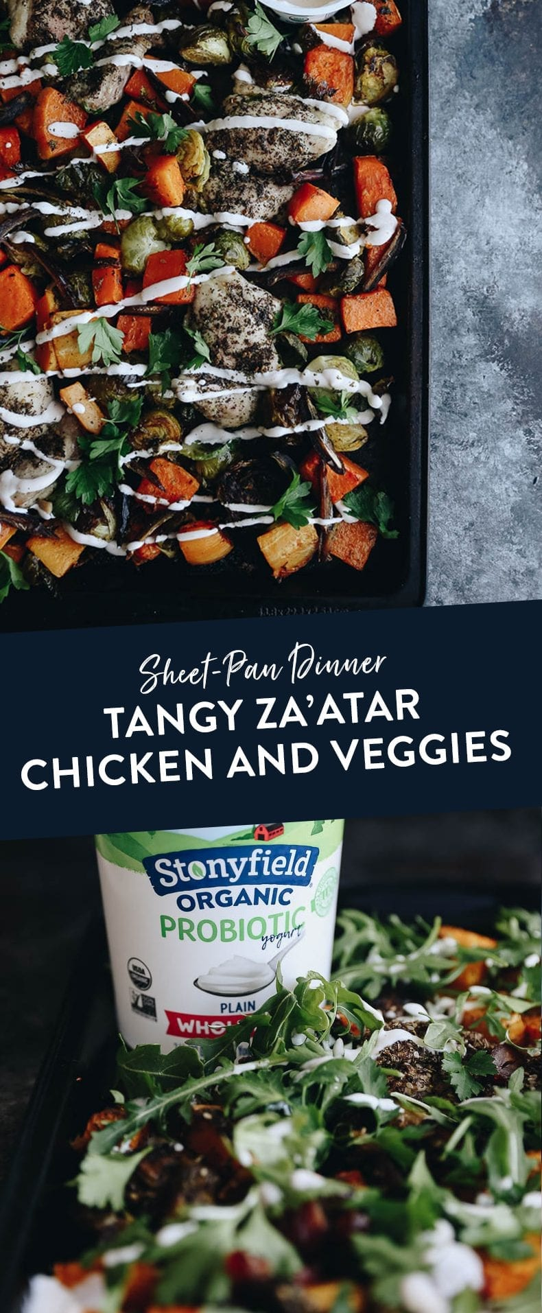 Cook your entire meal in one go with this sheet-pan dinner for Tangy Za'atar Chicken and Veggies. An easy take on a classic Mediterranean dish your whole family will enjoy #sheetpan #dinner #zaatar