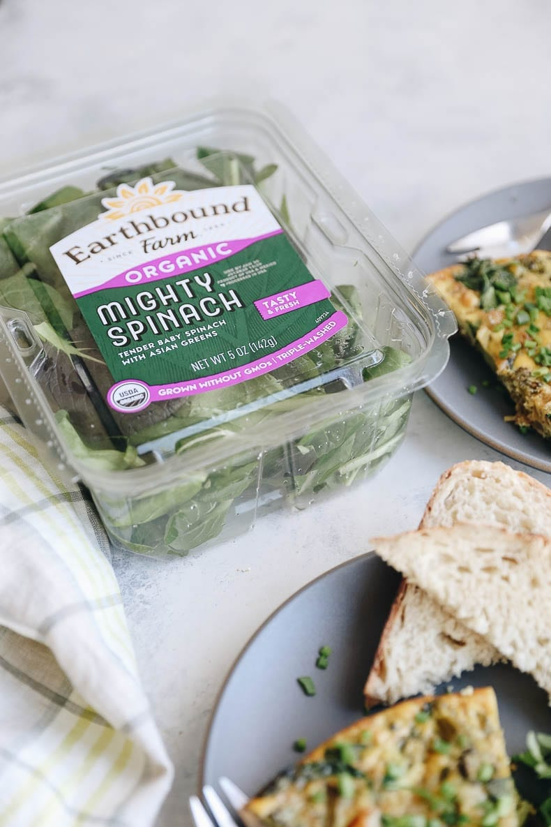 Earthbound Farms Mighty Spinach is this Caramelized Onion Broccoli and Spinach Frittata
