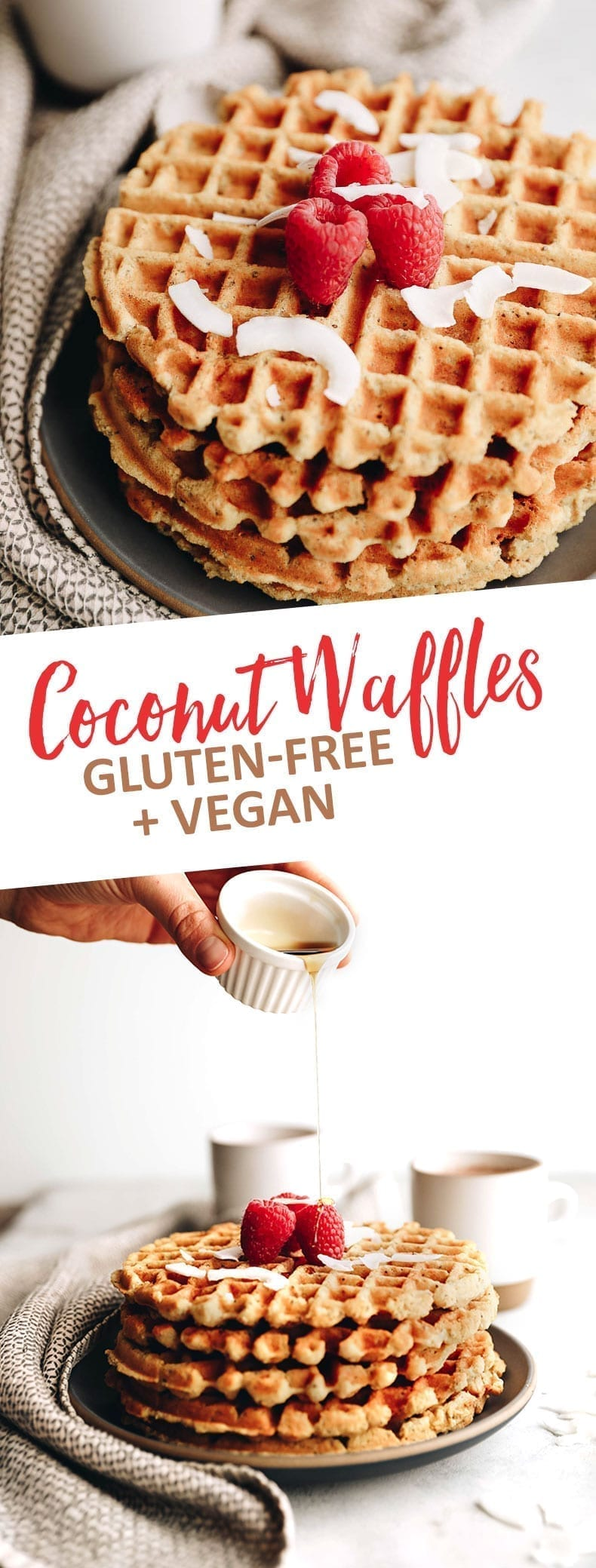 Coconut Waffles - Vegan and Gluten-free. Made with coconut flour and chia seeds this waffle recipe makes the ultimate healthy breakfast recipe everyone will enjoy. #glutenfree #vegan