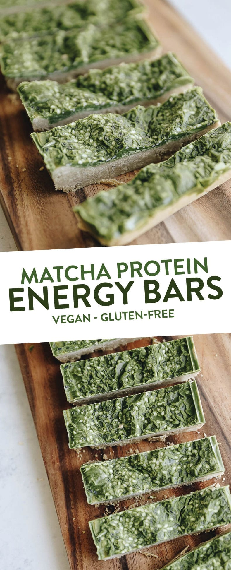 These Matcha Protein Energy Bars are plant-based, gluten-free and made from healthy ingredients. They're the perfect energizing snack for life on the run #vegan #matcha #matchabars
