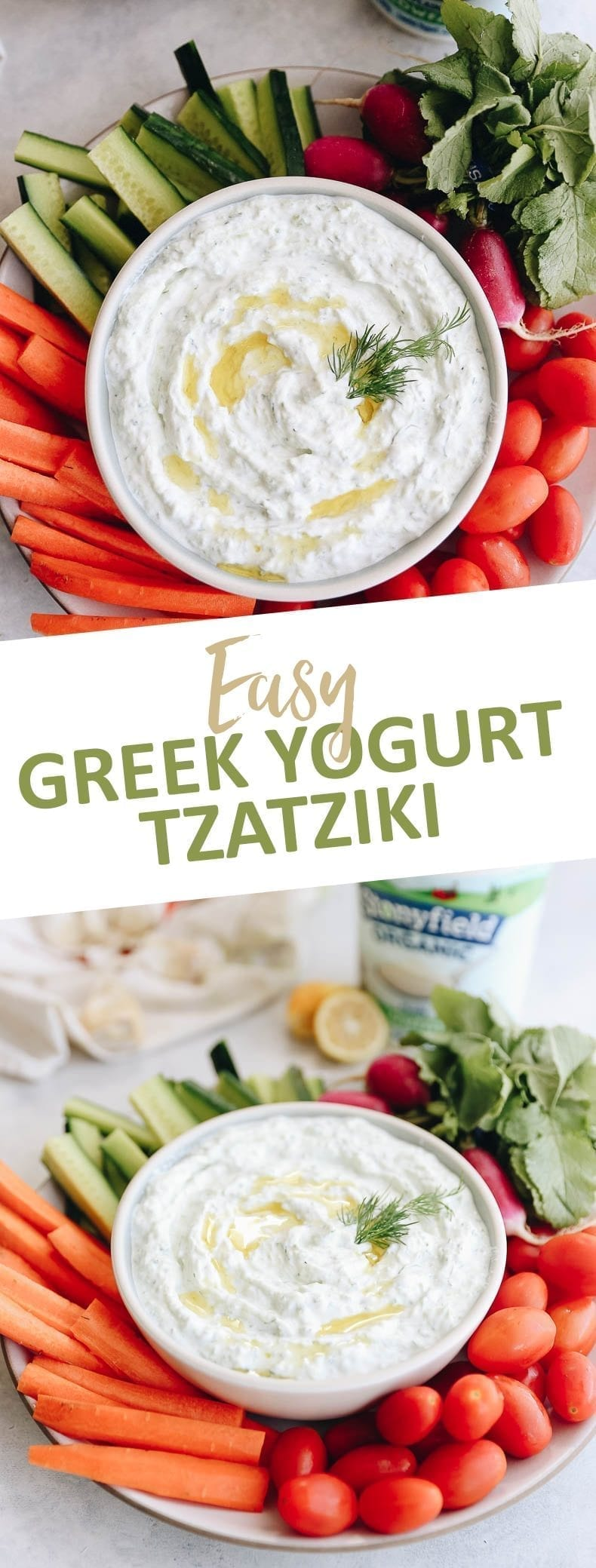 You'll be blown away by how easy it is to whip up this Easy Greek Yogurt Tzatziki Dip. Grab your veggies and get dipping with this healthy and nutritious dip recipe made from just 5 simple ingredients. #veggiedip #tzatziki #dip