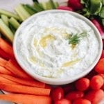 Healthy and easy greek yogurt tzaziki dip for a delicious appetizer made with just 5 ingredients #dip #veggiedip #tzatziki