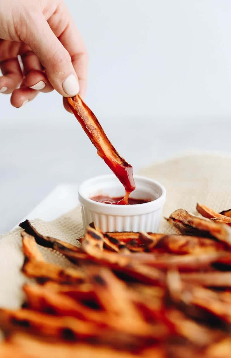 The Best Crispy Sweet Potato Fries made at home in the oven! No deep-frying required!